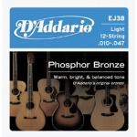 D'Addario EJ38 12-String Phosphor Bronze Acoustic Guitar Strings (Light, 10-47)